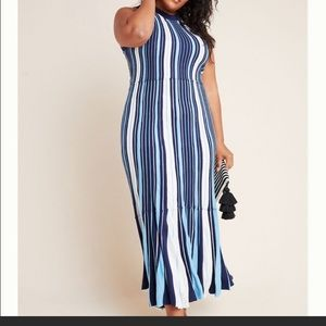 Anthropology Maeve Blue/White Striped Knit Dress L